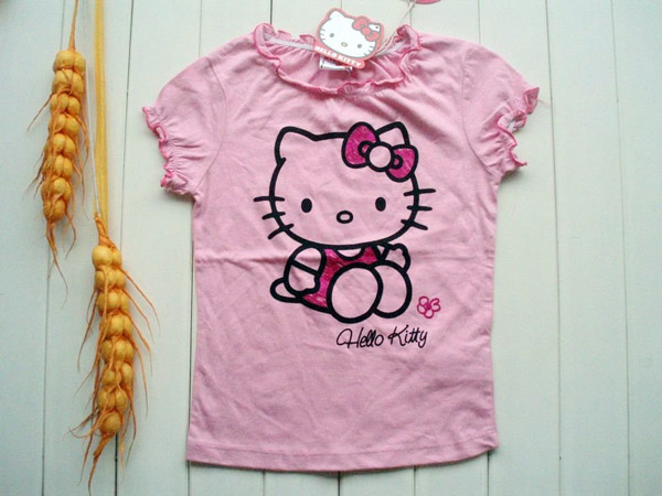 HELLO-KITTY-Children-girl-t-shirt-Printed-Children-girl-blouse-kids-dress-shirt-short-sleeve-girl